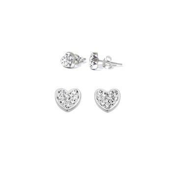 Silverörhängen - hjärtan med cubic zirkoner