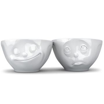 Mellanstora porslinsskålar med ansikten (2-pack)