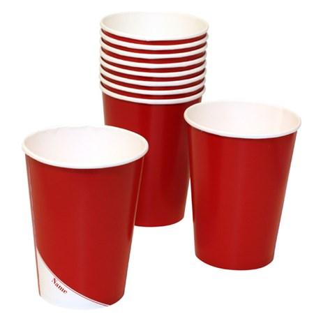 Engångsartiklar till fest röd Pappmuggar (10-pack)