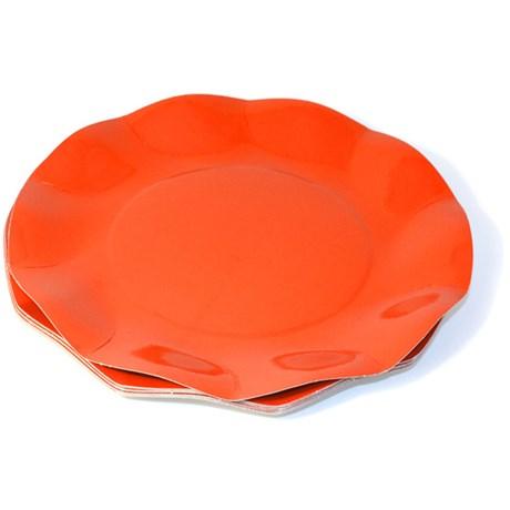 Engångsartiklar till fest orange Papptallrikar (10-pack)