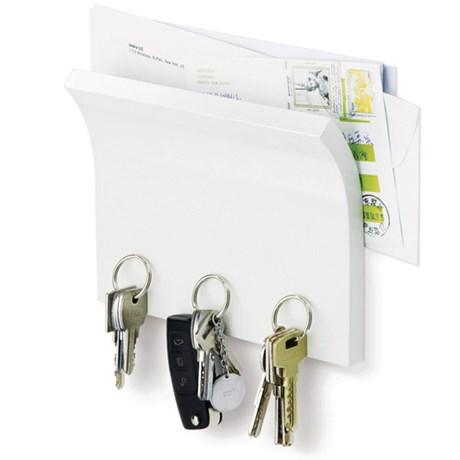 Magnethylla för nycklar och post Vit
