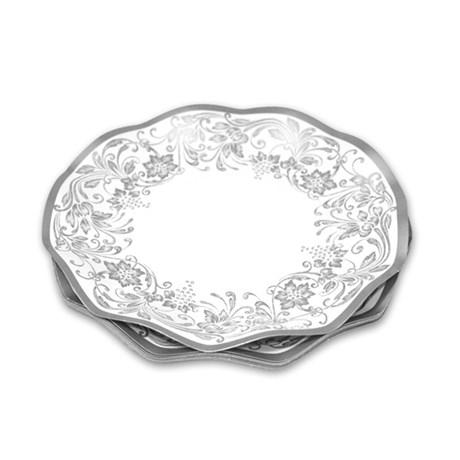 Engångsartiklar till fest – Noblesse silver Små desserttallrikar (10-pack)