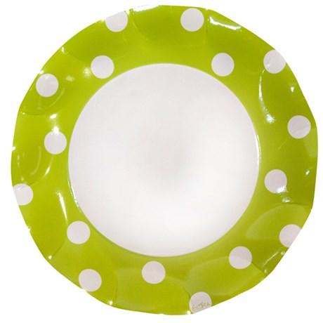 Engångsartiklar till fest – Prickiga limegrön Stora papptallrikar (10-pack)