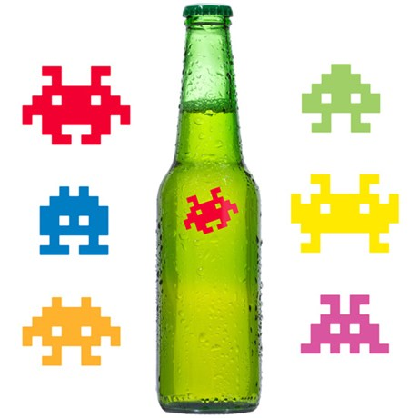 Glasmarkörer – Space Invaders