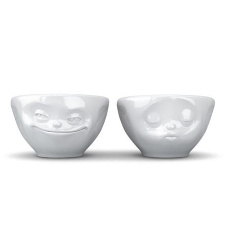 Små porslinsskålar med ansikten (2-pack)