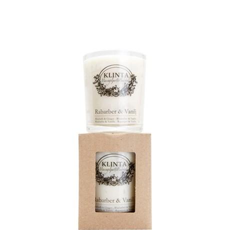 Klinta massageljus / doftljus – Rabarber & Vanilj