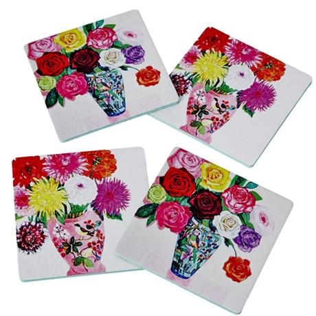 Rice – Glasunderlägg, Blommor / koppar (4-pack)