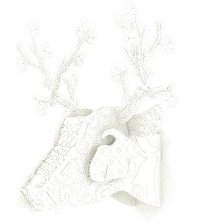 MIHO – Hjorttrofé i plast, svart/vit