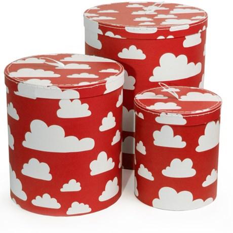 Förvaringslådor med lock Moln (3-pack) Röd