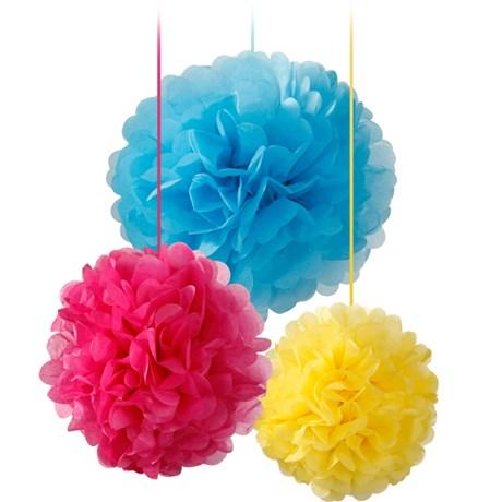 Pom poms, mixade färger (3-pack)