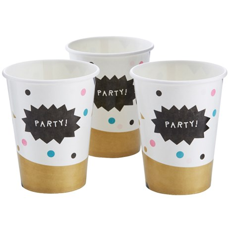 Festartiklar – Confetti Party Pappmuggar (8-pack)