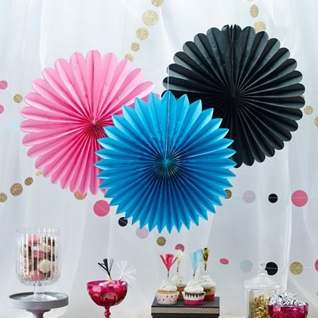 Hängande dekorationer, solfjädrar (3-pack)
