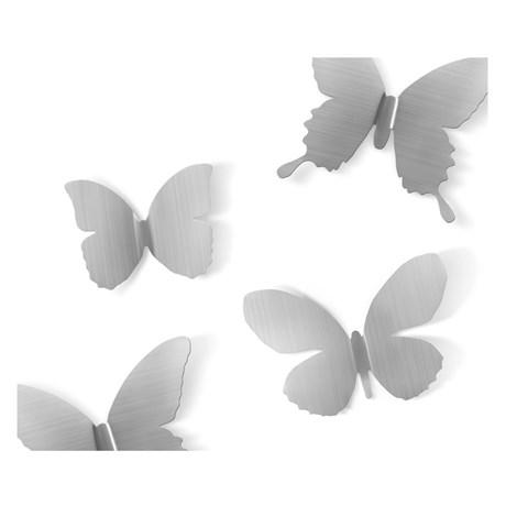 Väggdekor – Metal Mariposa Fjärilar (9-pack) Silver