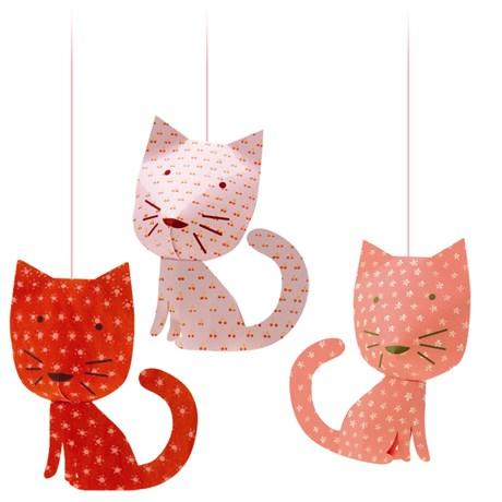 Hängande dekorer i olika djurmotiv (3-pack) Perched cats