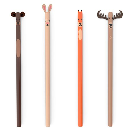 Blyertspennor med motiv (4-pack) Woodland