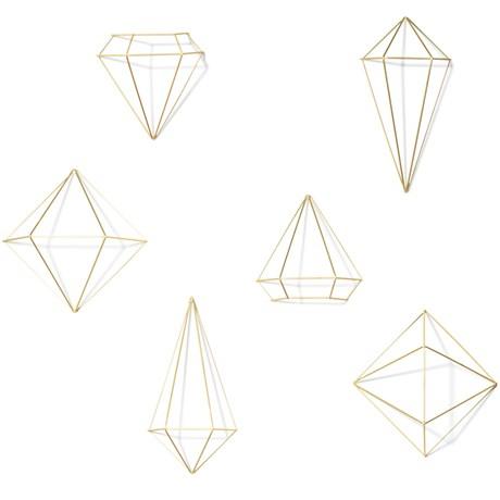 Väggdekor – Prisma (6-pack) Mässing