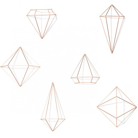 Väggdekor – Prisma (6-pack) Koppar