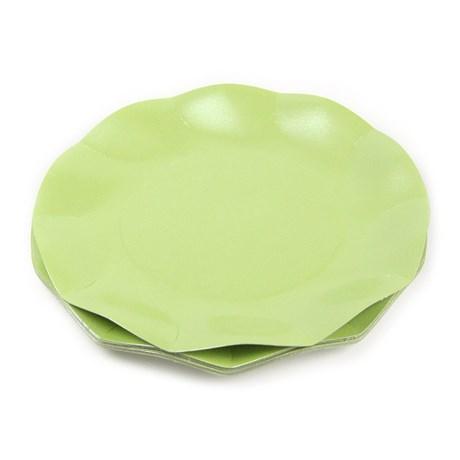 Engångsartiklar till fest skimrande grön Papptallrikar (10-pack)