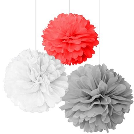 Pom Poms – Grå vit röd (3-pack) Stort 3-pack