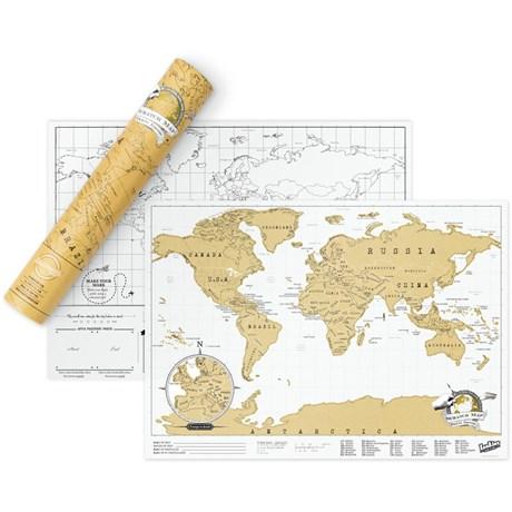 Världskarta – Scratch Map Original A3-storlek Vit