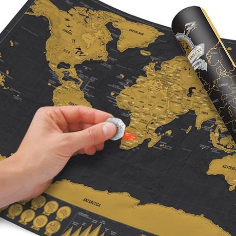 Världskarta – Scratch Map Deluxe A3-storlek Svart