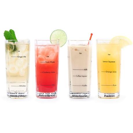 Drinkglas med recept höga (4-pack) Klar