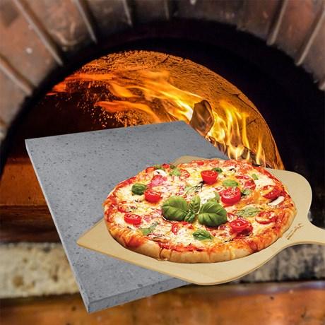 Pizzaset – Lavasten och bakspade Grå