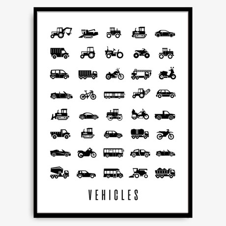 Poster – Vehicles Svart / Vit