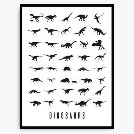 Poster – Dinosaurs Svart / Vit