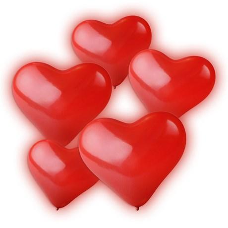 LED-ballonger - Hjärta (5-pack), Röd