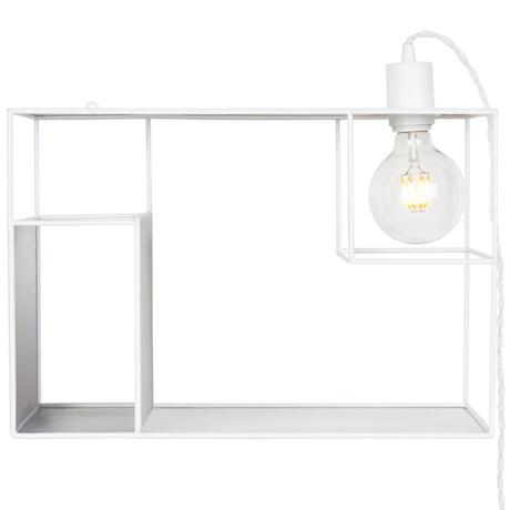 Vägghylla med lampa - Shelfie, Vit