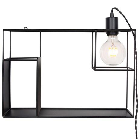 Vägghylla med lampa - Shelfie, Svart