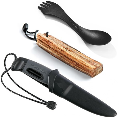 Campingset – Eldstål kniv & spork Svart