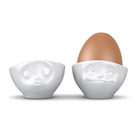 Äggkoppar med ansikte (2-pack), Pussande och Glad