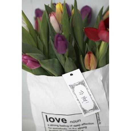 Papperspåse - Love, Vit