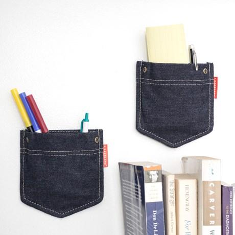 Väggförvaring - Jeansfickor (2-pack), Blå