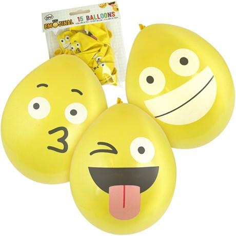 Festartiklar - Emoji, Ballonger (15-pack)