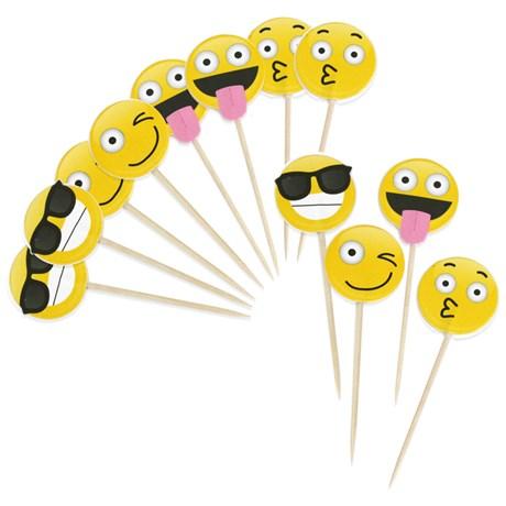 Festartiklar - Emoji, Tandpetare / Kakdekorationer (12-pack)