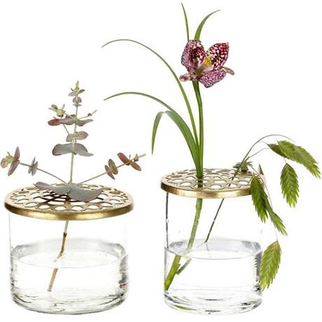 Vaser med blomhållare (2-pack), Klar
