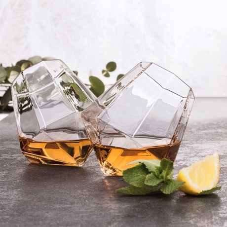 Lutande glas - Diamant (2-pack), Klar