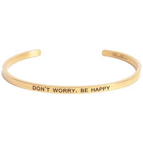 Armband med budskap - Cuff, Guld, Don't Worry Be Happy