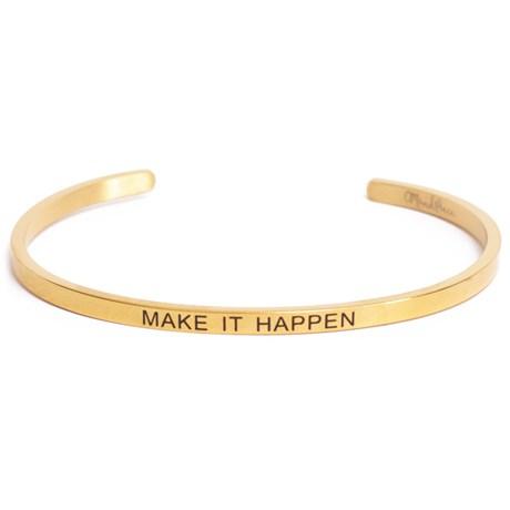 Armband med budskap - Cuff, Guld, Make It Happen