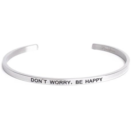 Armband med budskap - Cuff, Silver, Don't Worry Be Happy