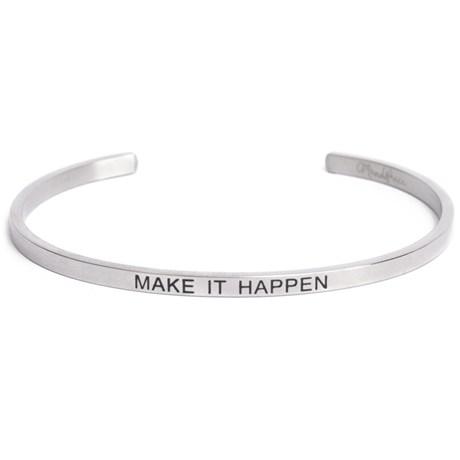 Armband med budskap - Cuff, Silver, Make It Happen