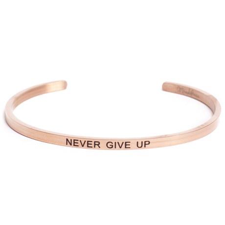 Armband med budskap - Cuff, Rosé, Never Give Up