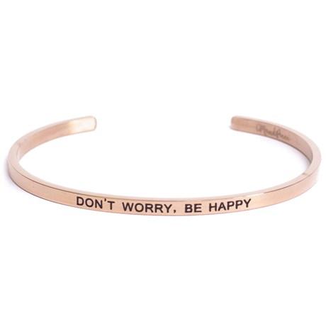 Armband med budskap - Cuff, Rosé, Don't Worry Be Happy