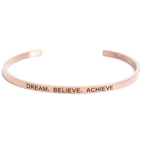Armband med budskap - Cuff, Rosé, Dream Believe Achieve