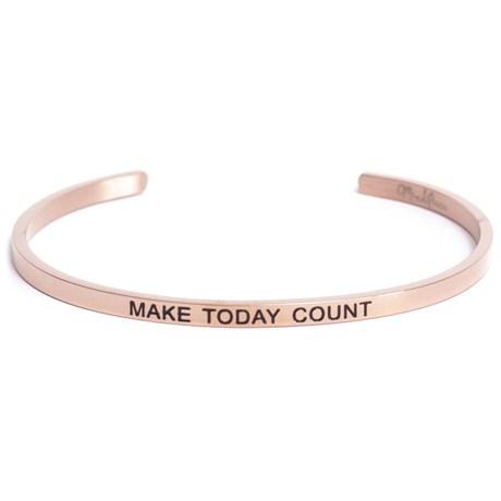 Armband med budskap - Cuff, Rosé, Make Today Count