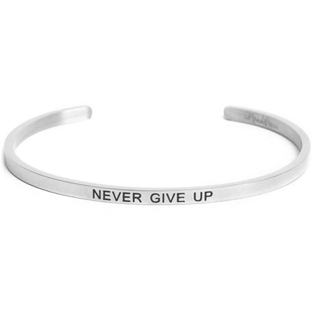 Armband med budskap - Cuff, Silver, Never Give Up