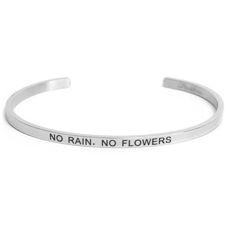 Armband med budskap - Cuff, Silver, No Rain No Flowers